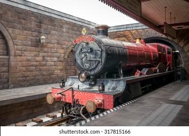 ORLANDO, FLORIDA 12th August 2015. Hogwarts Express Train at Wizardly World of Harry Potter at Islands of Adventure, Universal Studios, Orlando Florida.