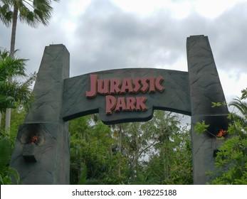 ORLANDO, FLORIDA APRIL 19th:  Entrance to the Jurassic Park area of Islands of Adventure, Universal Studios, Orlando Florida. on April 19th, 2014.