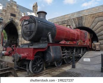 ORLANDO, FLORIDA APRIL 19th:  Hogwarts Express Train at Wizardly World of Harry Potter at Islands of Adventure, Universal Studios, Orlando Florida. on April 19th, 2014.