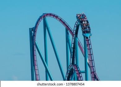 Orlando, Florida. April 20, 2019. People enjoying amazing  Mako rollercoaster at Seaworld in International Drive area (5)