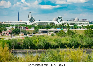 Orlando, Florida. April 7, 2019.  Panoramic view of Convention Center on lightblue sky cloudy background in International Drive area .