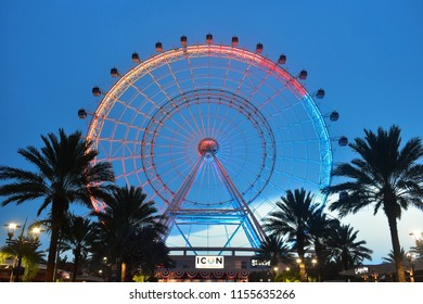 Orlando, Florida; August 09, 2018: The Orlando Eye is one most favorite attractions, in International Drive.