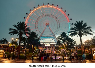 Orlando, Florida; August 13, 2018: The Orlando Eye is a 400 feet tall ferris wheel,  in the heart of International Drive area.