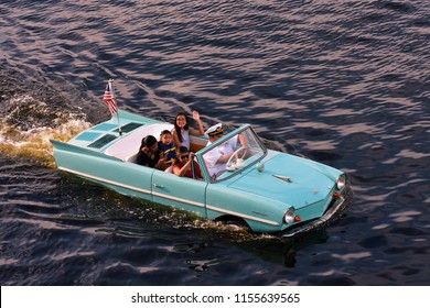 Orlando, Florida; August 13, 2018: Unforgettable and thrilling experience of a Captain's Guided Tour in a vintage Amphibious car.