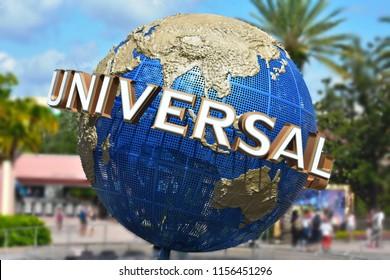 Orlando, Florida; August 15, 2018: The famous Universal Globe at Citiwalk Universal Studios.