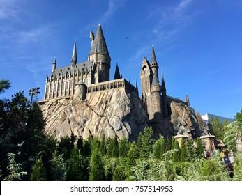 Orlando, Florida, August 18, 2017: Hogwart in the wizarding world of Harry Potter, Island of adventure, Universal studios