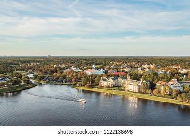 Orlando, Florida - DEC, 2017 - Orlando Skyline view from balloon