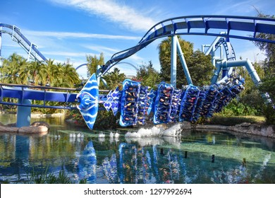 Orlando, Florida. December 19, 2018. Amazing view of Manta Ray Rollercoaster at Seaworld Theme Park.at Seaworld in International Drive area