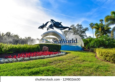 Orlando, Florida. December 19, 2018. Panoramic view of Seaworld sign in International Drive area
