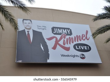 Orlando, Florida -  December 21, 2016: Billboard of Jimmy Kimmel show hanging in the wall of a building in Disney's Hollywood Studio..