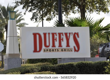 Orlando, Florida - December 24, 2016: Sign of Duffy's Sports Grill in Orlando.