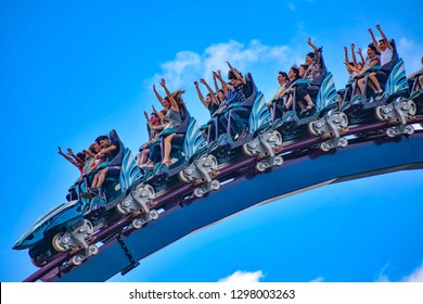 Orlando, Florida. December 26, 2018. People having fun rollercoaster ride  at Seaworld in International Drive area  (10)