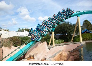 ORLANDO, FLORIDA - December 5, 2013: People ride the Kracken Roller Coaster at Sea World