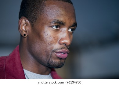 ORLANDO, FLORIDA - FEB. 24: Basketball star Serge Ibaka of the Oklahoma City Thunder attends the VIP All-Star party hosted by Dwight Howard and Adidas.  Feb. 24, 2012 in Orlando Florida.