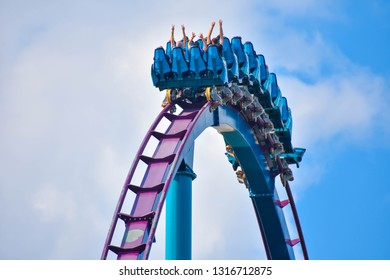 Orlando, Florida . February 17 , 2019 Ride Mako, a hyper coaster known for high speeds, deep dives, and thrills around every turn. at Seaworld (8)