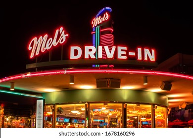 Orlando, Florida. February 29, 2020. Top view of Mels Drive In Restaurant at Universal Studios