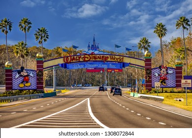 Orlando, Florida. January 11, 2019 Entrance Arch of Walt Disney Theme Parks at Lake Buena Vista area .