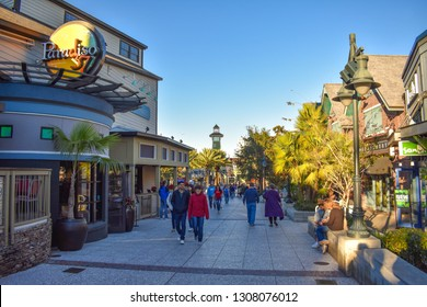 Orlando, Florida. January 11, 2019  People walking on Disney Spring street at Lake Buena Vista area