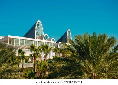 Orlando, Florida. January 12, 2019 Top view of Orlando Convention Center and palms trees at International Drive area.
