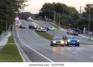 Orlando Florida - January 14th 2017:  Funeral Procession to Woodlawn Cemetery for officers killed earlier in the week in Orlando Florida,  January 14th, 2017