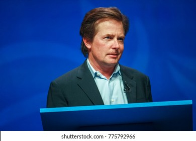 ORLANDO, FLORIDA - JANUARY 16, 2012: Actor Michael J. Fox delivers an address to IBM Lotusphere 2012 conference on January 16, 2012. He tells how social networks help him fight his Parkinson disease