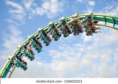 Orlando, Florida. January 20, 2019 People having fun Kraken rollercoaster at Seaworld Marine Theme Park.