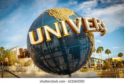 Orlando, Florida - July 11, 2015: Universal Globe at the entrance to Universal Studios Park.
