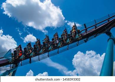 Orlando, Florida. July 18, 2019. Top view of people enjoying amazing Mako rollercoaster at Seaworld 10.