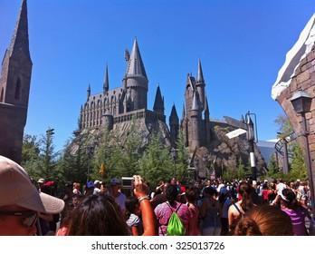 ORLANDO, FLORIDA - July 27, 2010 - Hogwarts Castle in The Wizarding World of Harry Potter in Islands of Adventure, Universal Orlando Resort.