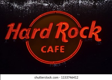 Orlando, Florida; July 31, 2018: Hard Rock Cafe logo on City walk at Universal Studios. Hard Rock Cafe is an American chain of theme restaurant, founded in 1971
