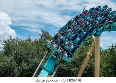Orlando, Florida . July 31, 2019. People enjoying riding Kraken rollercoaster during summer vacation at Seaworld 11