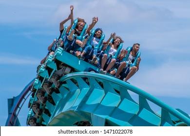 Orlando, Florida . July 31, 2019. People enjoying riding Kraken rollercoaster during summer vacation at Seaworld 17.