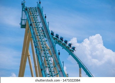 Orlando, Florida . July 31, 2019. People enjoying riding Kraken rollercoaster during summer vacation at Seaworld 14