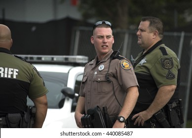ORLANDO, FLORIDA - June 13: unidentified  law enforcement from Orange County Sheriff's department and Florida State Highway Patrol, at the scene of the Pulse nightclub shooting.