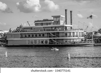 Orlando, Florida. June 15, 2019. Paddlefish on sunset background. It is an iconic restaurant located aboard a luxurious steamboat at Lake Buena Vista