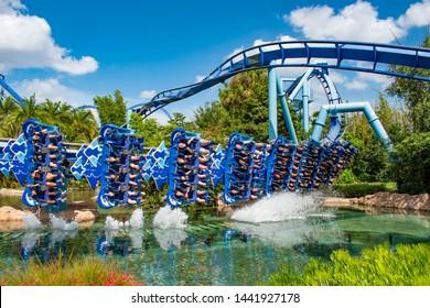 Orlando, Florida. June 23 2019. People having fun Manta Ray rollercoaster at Seaworld 15
