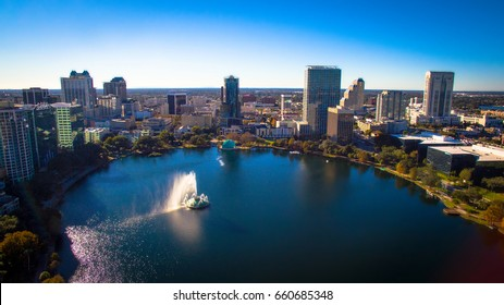 Orlando Florida, Lake Eola. Shot with a profesional drone.