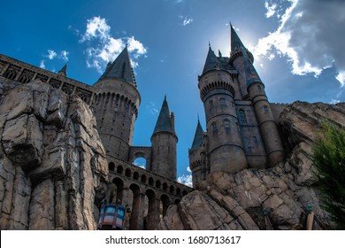 Orlando, Florida. March 02, 2019. Top view of Hogwarts Castle at Universals Islands of Adventure 3