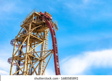Orlando, Florida. March 02, 2020. People enjoying Hollywood Rip Ride Rockit roller coaster at Universal Studios 31