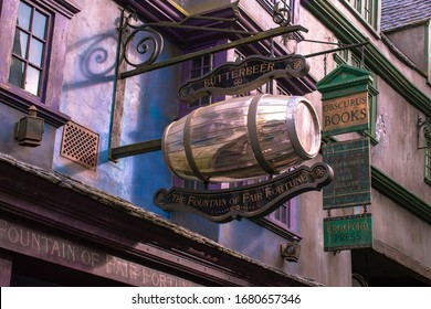 Orlando, Florida. March 02, 2020. The Fountain of Fair Fortune Butterbeer in The Wizarding World of Harry Potter Diagon Alley at Universal Studios.