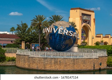 Orlando, Florida. March 15, 2020. Panoramic view of world sphere and main entrance arch at Universal Studios 2
