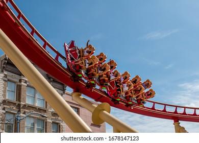 Orlando, Florida. March 15, 2020. People having fun Hollywood Rip Ride Rockit roller coaster at Universal Studios 43