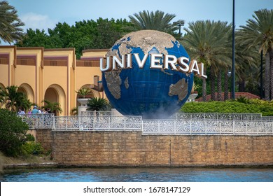 Orlando, Florida. March 15, 2020. Panoramic view of world sphere at Universal Studios 1