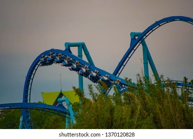 Orlando, Florida. March 17, 2019. People enjoying Manta Ray rollercoaster at Seaworld  in International Drive Area .