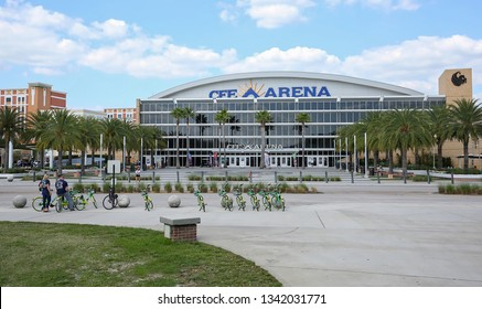 ORLANDO, FLORIDA - MARCH:  University of Central Florida's CFE Arena is one of the top college venues in the country.  CFE is the home of UCF men's and women's basketball as seen on March 15, 2019.
