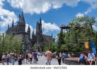 ORLANDO, FLORIDA - MAY 06, 2015: Hogwarts in Universal Orlando, Florida.