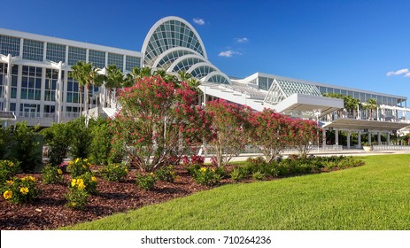 ORLANDO, FLORIDA - MAY 21st: Front entrance to the Orange County Convention Center in Orlando, Florida on May 21st, 2016.