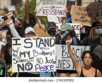 Orlando, Florida – May 30, 2020: Protesters gathered in downtown Orlando to show support for George Floyd. George Floyd died after a confrontation while in police custody.
