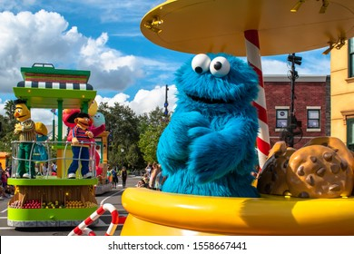 Orlando, Florida. November 06, 2019. Cookie Monster in Sesame Street Party Parade at Seaworld 1.