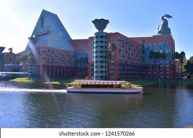 Orlando, Florida; November 15, 2018  Panoramic view of colorful Hotel and taxi boat at Lake Buena Vista area.